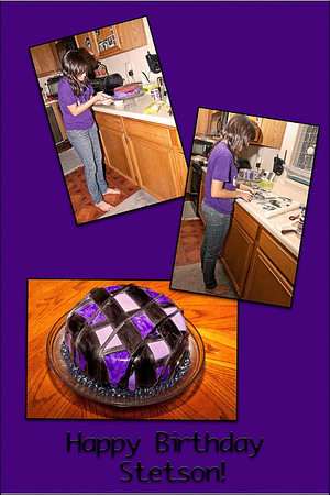 "October 9, 2009  Emily worked on this cake for her boyfriend Stetson for at least 6 hours yesterday afternoon and evening. First time she ever made a cake with rolled fondant - which she dyed purple and black.  Stetson loves purple..  and she added black so it didn't ""look too girly"".  Happy 17th birthday Stetson - you are a great kid/young man."