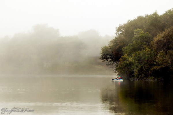 October 17, 2009 - Kayak fisherman.<br /> <br />  Another photo from our foggy morning.
