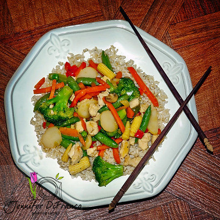 """July 21st - Oriental Stir Fry and Brown Rice<br /> <br /> - dinner last night.  I am having a horrible time staying motivated to cook and or eat healthy when it is so hot for weeks on end. Turning on the stove - standing over the stove - it's the last thing I want to do right now.  Most ironic thing is it has actually been a few degrees cooler here the past few days than it was.  We had at least 3 weeks of 100+ degree days.  The past few have actually been under 100.  Tonight is the usual """"Spaghetti Thursday"""" for my Italian hubby - his favorite."""