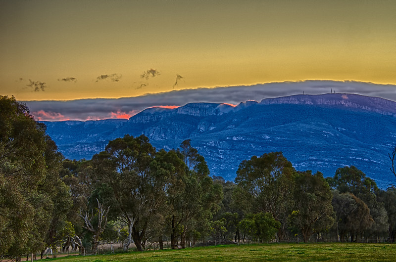 Sunset over the Grampians Mountains