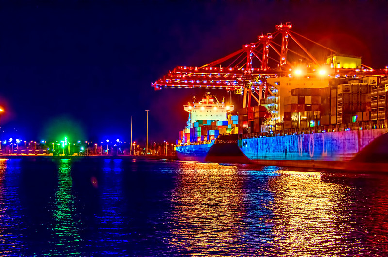 Ships being loaded in Melbourne harbour