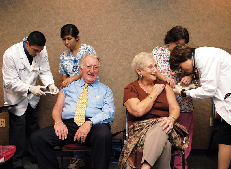 Getting a flu shot, 2003