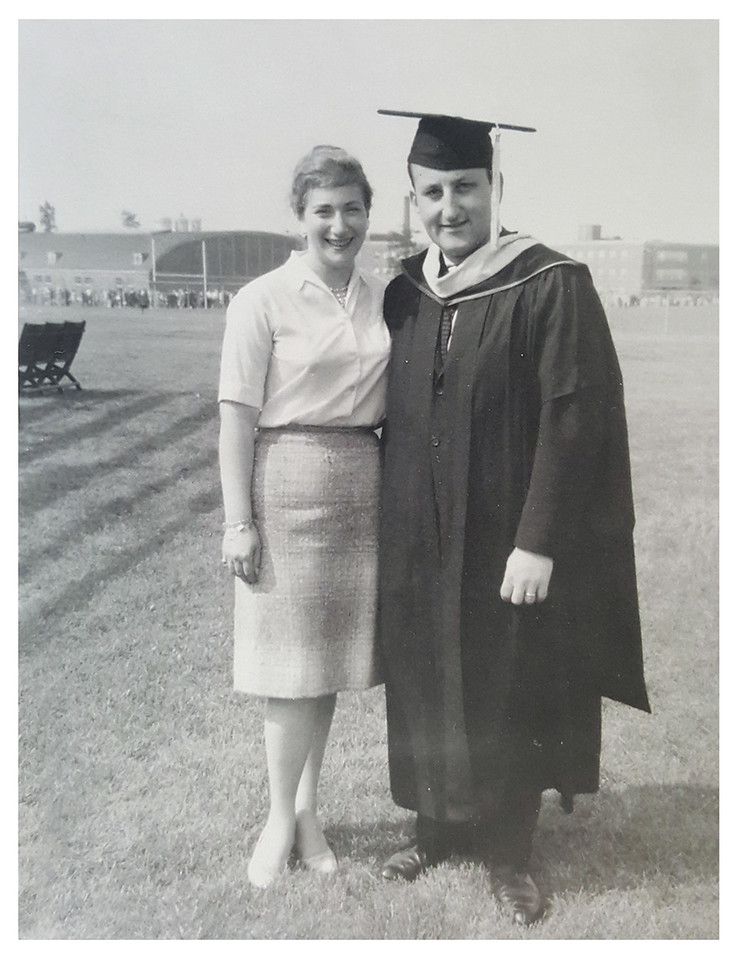 Philip and Harriet Pumerantz when he received his Masters in Education from University of Connecticut, 1960