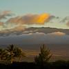 Hualālai Volcano at sunset from Anaehoomalu Bay