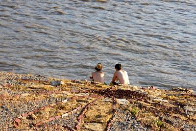 Sittin' and lookin' at The Kansas River, Lawrence, KS.