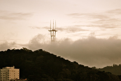 View of the Sutro Tower from Alamo Square.