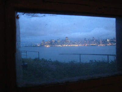 View of San Francisco from a window in Alcatraz.