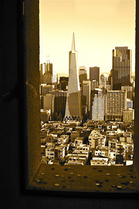 View of the Financial District from a window in the Coit Tower in North Beach, San Francisco.
