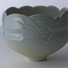 Byron Johnstad, Carved stoneware bowl, 1977-1982, stoneware, glaze, light blue cobalt, 16.8 x 22.3 cm, George & Lola Kidd Purchase Fund