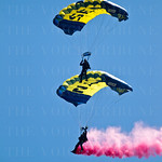The US Navy Leap Frogs parachuted into Thunder Over  Louisville, to get the Airshow Festivities started.