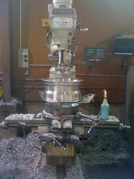 One of the lathes where Coys makes their custom built wheels.