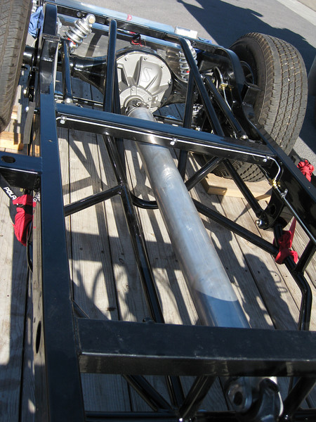 Another shot of the new aluminum driveline on the chassis.
