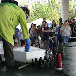 Martin French demonstrates the effects of liquid nitrogen on dfferent objects.