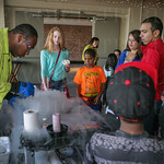 Jerald Smith giving a demonstration on making icecream with liquid nitrogen.