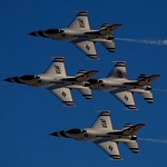 10 November 2006 - The Thunderbird Diamond  performs the diamond pass and review at Nellis Air Force Base, Nv. The United States Air Force Thunderbirds perform over 65 shows annually across the United States and abroad. U.S. Air Force photograph by Technical Sgt Justin D. Pyle