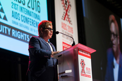 21st International AIDS Conference (AIDS 2016), Durban, South Africa. Special Session (THSS01) Ending AIDS with the Voices of the Youth: How Stigma and Discrimination Affect Key Populations Elton John, 21 July, 2016. Photo©International AIDS Society/Rogan Ward
