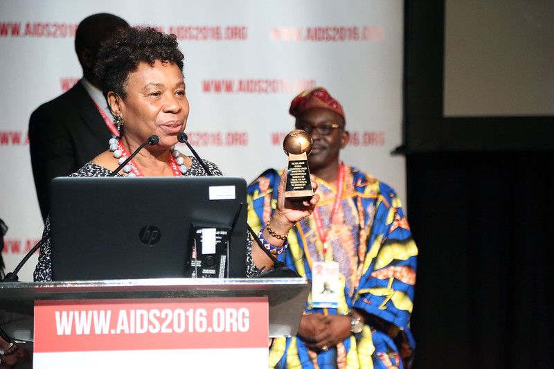 21st International AIDS Conference (AIDS 2016), Durban, South Africa.<br /> THSA06 Moving from Silos to Solidarity<br /> Thursday 21 July : Venue -Session Room 7<br /> Barbara Lee Getting ready to recieve the award<br /> Photo©International AIDS Society/Abhi Indrarajan
