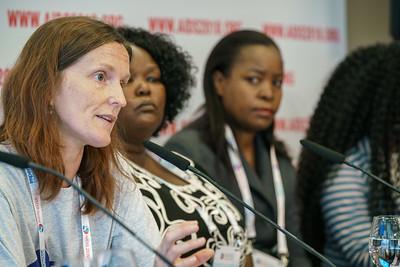 22nd International AIDS Conference (AIDS 2018) Amsterdam, Netherlands.   Copyright: Matthijs Immink/IAS  PRESS CONFERENCE Sex Workers & End Demand Policies  On the photo:  Hélène Lebail Duduzile (Dudu) Dlamini Loveness Bowa Gunda