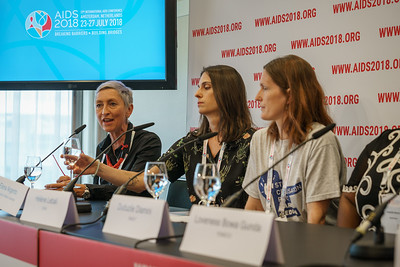 22nd International AIDS Conference (AIDS 2018) Amsterdam, Netherlands.   Copyright: Matthijs Immink/IAS  PRESS CONFERENCE Sex Workers & End Demand Policies  On the photo: Linda-Gail Bekker Elena Argento Hélène Lebail