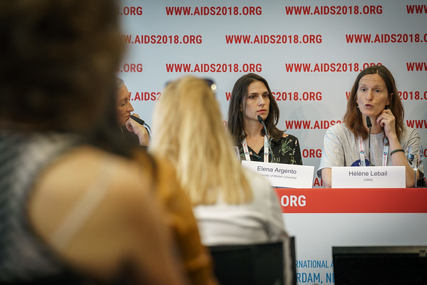22nd International AIDS Conference (AIDS 2018) Amsterdam, Netherlands.   Copyright: Matthijs Immink/IAS  PRESS CONFERENCE Sex Workers & End Demand Policies  On the photo: Elena Argento Hélène Lebail