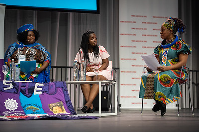 22nd International AIDS Conference (AIDS 2018) Amsterdam, Netherlands.   Copyright: Steve Forrest/Workers' Photos/ IAS  Photo shows: Special Session: The legacy of Prudence Mabele: Championing gender justice and health equity. From Left to Right: Prudence Mabele Prize winner, Duduzile (Dudu) Dlamini; Mercy Ngulube, CHIVA, United Kingdom; Yvette Raphael, APHA, South Africa.