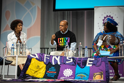 22nd International AIDS Conference (AIDS 2018) Amsterdam, Netherlands.   Copyright: Steve Forrest/Workers' Photos/ IAS  Photo shows: Special Session: The legacy of Prudence Mabele: Championing gender justice and health equity. From Left to Right: Princess Nothemba (Nono) Simelela, World Health Organization, Switzerland; Patrick Gaspard, Open Society Foundations;22nd International AIDS Conference (AIDS 2018) Amsterdam, Netherlands.   Copyright: Steve Forrest/Workers' Photos/ IAS