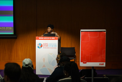 22nd International AIDS Conference (AIDS 2018) Amsterdam, Netherlands.   Copyright: Matthijs Immink/IAS  Young people at the centre: Community mobilization for youth-friendly HIV services  On the photo: Shanine Mushonga