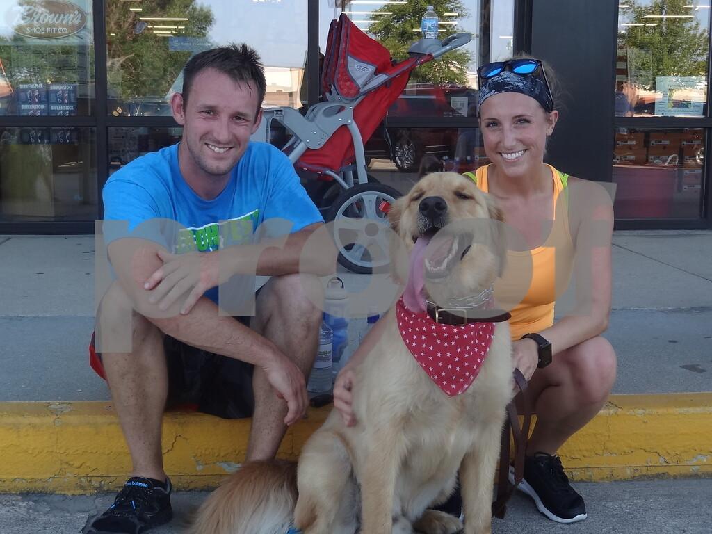 Joe Heatherington, Chelsea Meyers with their dog Marty Mcfly