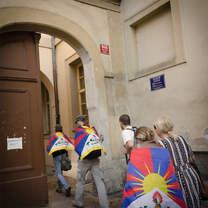 Friends of Tibet walking through Prague centre