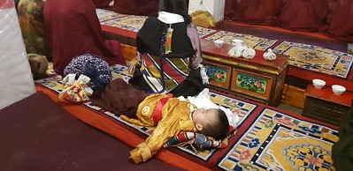 Сегодня вместо монастыря Драк Йерпа (по причине визита туда китайского Панчен Ламы дорога была всем перекрыта) мы приехали в Сера.  Это некогда крупнейший монастырь школы Гелуг, основанный учеником Цонкапы в 1417 году. Сейчас он снова набрал силу и много монахов получают там обучение. Мы попали на экзамен по философии двух монахов. Также большое количество мирян раздавали подношения монахам.