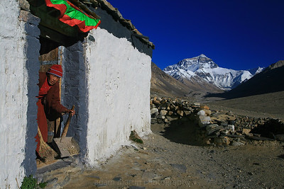 At the World's Highest Monastery with Mt Everest in the background. Tibet