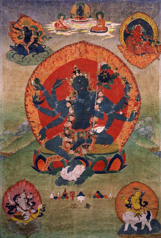 Green Tara (Samaya_Tara_Yogini) in the center and the Blue, Red, White, and Yellow Taras in the corners. <br /> 18th century Eastern Tibetan Tangka