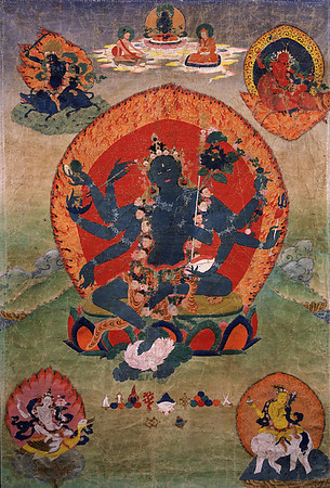 Green Tara (Samaya_Tara_Yogini) in the center and the Blue, Red, White, and Yellow Taras in the corners.  18th century Eastern Tibetan Tangka