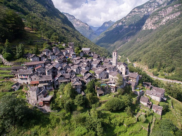 "The town of Corippo, described as the ""most gentle village in the Verzasca Valley""."