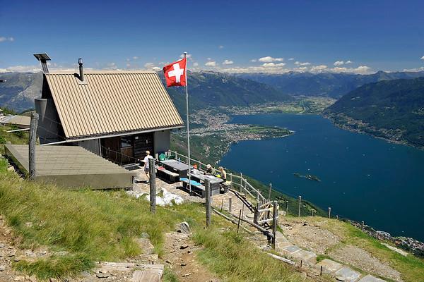 Al Legn hut with wide views over Lake Maggiore. Source: Wikipedia