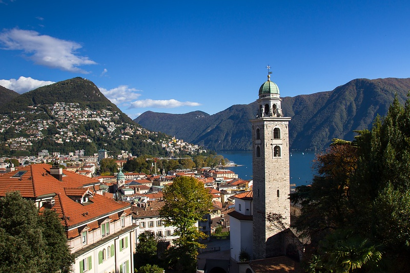 Open view on Lugano and the bell tower of Chiesa di Santa Maria Immacolata. Source: nytimes.com