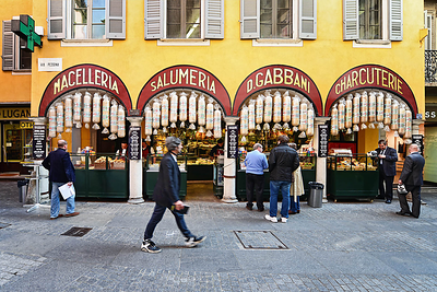 Local delicacies shop in Via Pessina, Lugano. Source: https://www.luganoregion.com/en