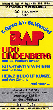 1987-09-19 - 5. Open Air St. Wendel with BAP and more
