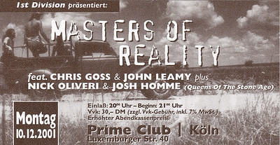 2001-12-10 - Masters of Reality