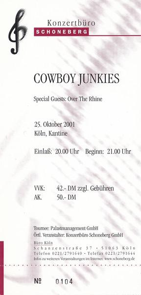 2001-10-25 - Cowboy Junkies + Over The Rhine