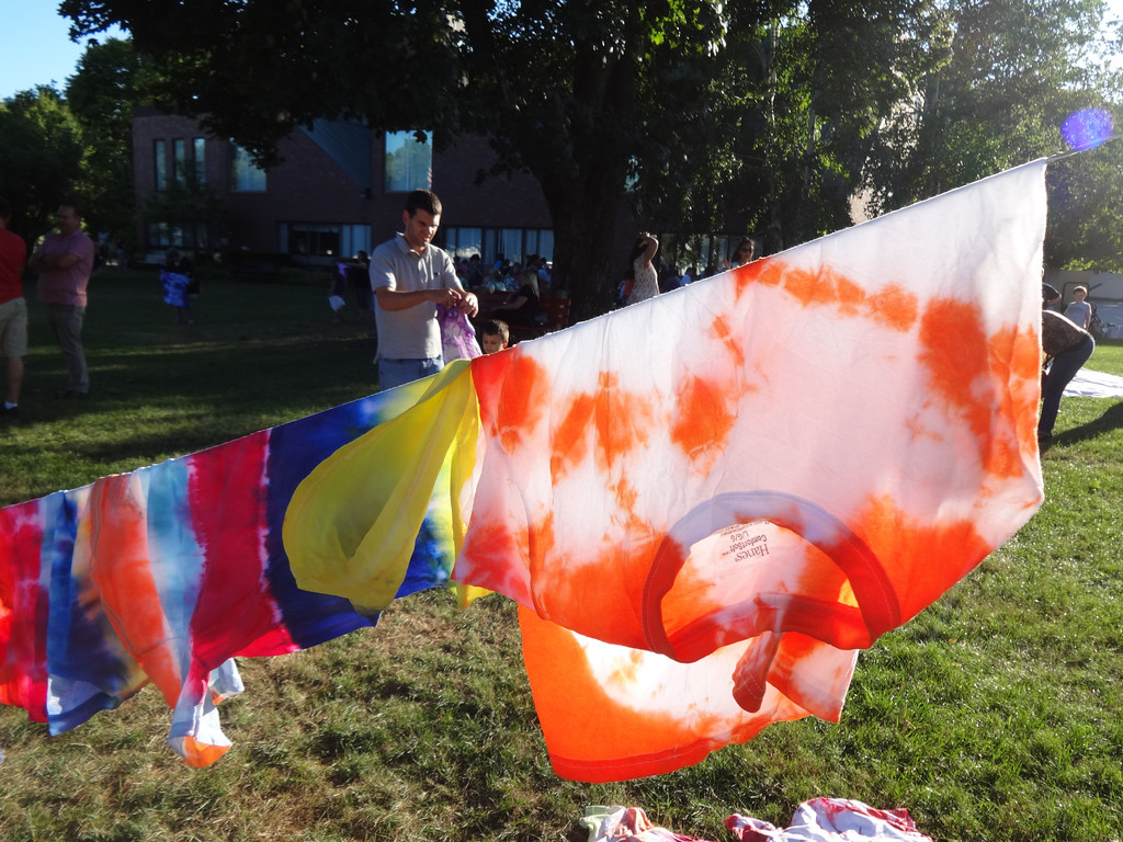 . Brightly colored shirts waved in the wind during a Tie Dye Night sponsored by the Billerica Public Library. Photo by Mary Leach