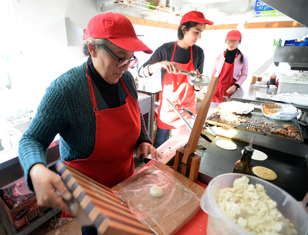 . BOULDER, CO - November 6, 2018: Veronica Diaz makes handmade tortillas from yellow corn. Tierra Y Fuego taco stand/Diaz Farm in Boulder is being reviewed.  (Photo by Cliff Grassmick/Staff Photographer)