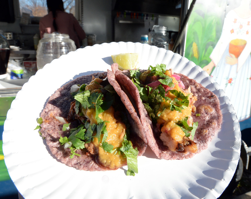 . BOULDER, CO - November 6, 2018: Pollo adobado with mango habanero salsa. Tierra Y Fuego taco stand/Diaz Farm in Boulder is being reviewed.  (Photo by Cliff Grassmick/Staff Photographer)