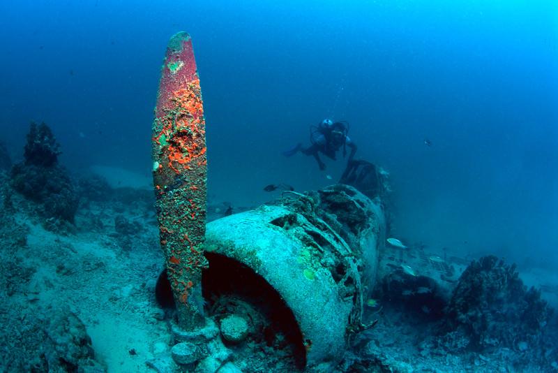 versunkener Japanischer Bomber mit Taucher, Pazifik, Papua Neu Guinea / sunk Japanese bomber with scuba diver; Pacific ocean, Papua New Guinea
