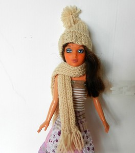 Tan Knitted Scarf and Hat - new yarn