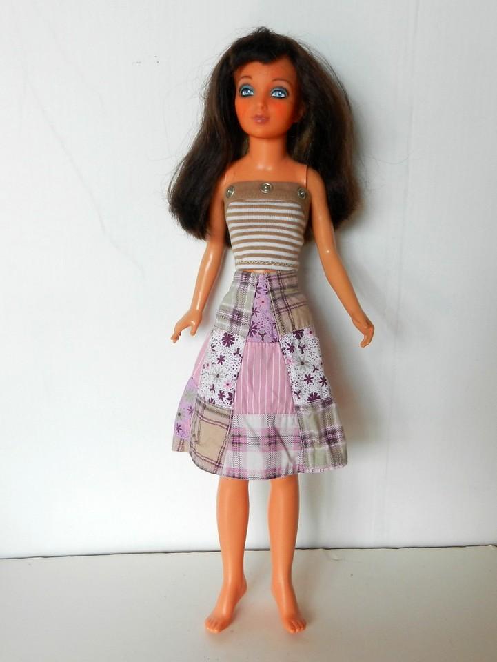 TT Pink & Tan Patchwork Wrap Skirt w Tan & White Stripe Strapless Top full