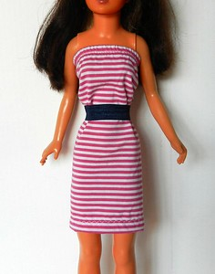 Fuchsia & White Stripe Strapless Dress with Navy Belt - cotton knit, dress pulls on over feet, has elastic above bust, belt is elastic (in the photos, I have it taped together, but will be adding Velcro to close it. $8.99