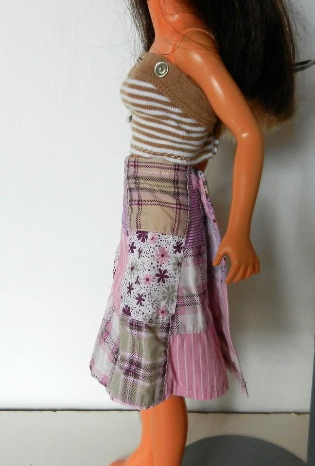 TT Pink & Tan Patchwork Wrap Skirt w Tan & White Stripe Strapless Top side