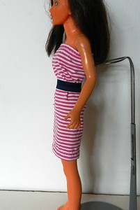 TT Fuchsia & White Stripe Strapless w Navy Belt side