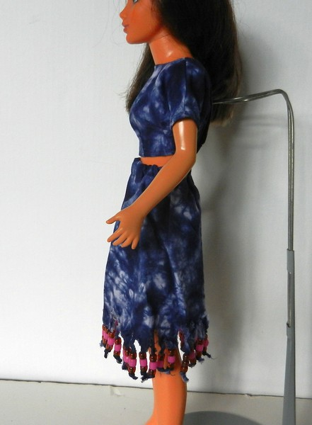 TT Blue Tie Dye Midriff Top & Skirt w Bead Fringe side